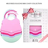 Pack of 4 Silicone Bibs CANDY Collection! Baby Bibs for Girls - Best Girl Baby Gifts, Bibs for Newborn - Silicone Bibs with Pocket, Waterproof Bibs for Baby, Feeding Bibs, Dishwasher Safe, Soft Bibs