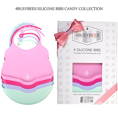 Pack of 4 Silicone Bibs CANDY Collection! Baby Bibs for Girls - Best Girl Baby Gifts, Bibs for Newborn - Silicone Bibs with Pocket, Waterproof Bibs for Baby, Feeding Bibs, Dishwasher Safe, Soft Bibs by 4BUSYBEES