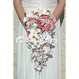 Silk Flower Arrangements Pink Cascading Bouquet Baby Pink Roses, White Orchids & Lilies