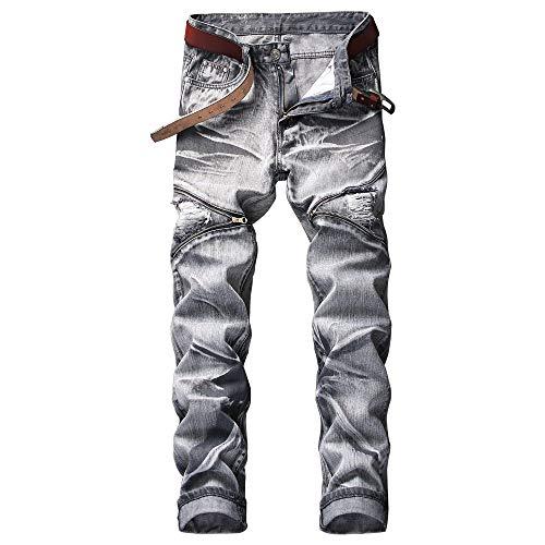 AITITIA Men's Biker Zipper Deco Washed Straight Fit Jean (38W x 32L, Gray)