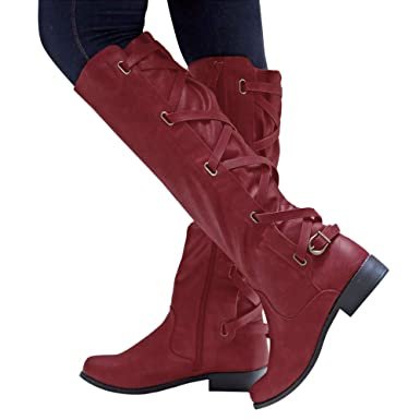 cabd6745a87 Amazon.com  Baigoods Women s Shoes Buckle Roman Riding Knee High Cowboy  Boots Ankle Long Cross Strap Ladies Boots  Clothing