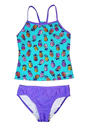 Speedo Girl's Sporty Splice Tankini 2 Piece Swimsuit (Azure Aqua Pineapple, -