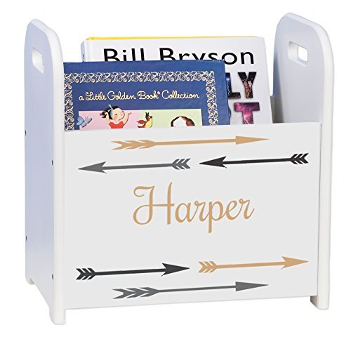 MyBambino Personalized Arrows Gold and Grey White Book Caddy and Magazine Rack