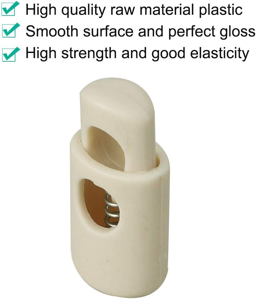 Tie-Downs Beige Shoelaces Tents uxcell 6pcs Spring Cord Locks Plastic End Stopper Single Hole Toggle Fastener Rope End for Drawstrings
