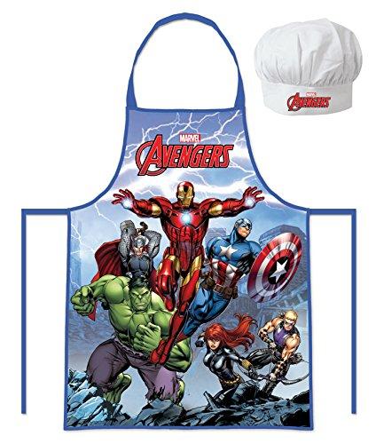Marvel Avengers - Hulk, Catp.America, Thor, Iron Man (102050) Kinder Chefkoch-Set Kochschürze und Kochhaube, 2-teilig