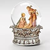 "6"" Fontanini Musical Holy Family Christmas Nativity Snow Globe Glitterdome"