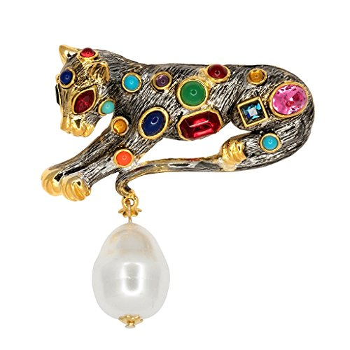 - HamptonGems KENNETH JAY LANE, LEOPARD PIN WITH MULTI COLOR CRYSTALS AND CABOCHONS