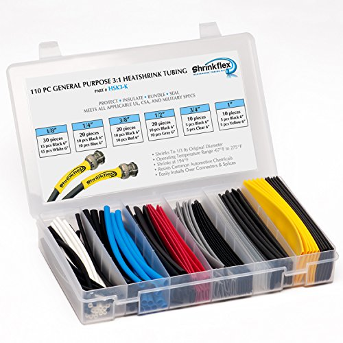Shrinkflex - HSK3-K - 3:1 General Purpose Heatshrink Tubing Kit - 110 pcs, 6
