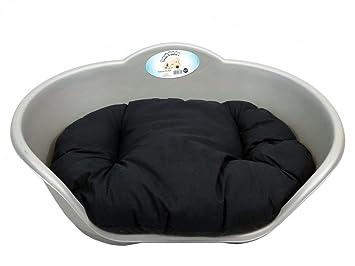 Cama para perro gris de plástico con cojín de negro/Mediano de Heavy Duty Pet - Cama perro/gato/animal/Sleep/cesta: Amazon.es: Productos para mascotas