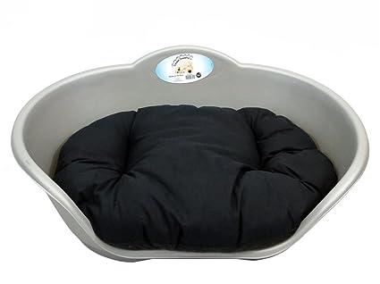 Perro cama gris plástico con negro cojín/mediana Heavy Duty – Cama de mascota Perro