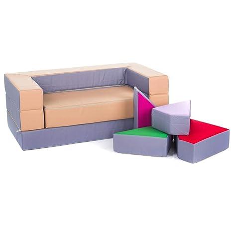 Altrak Niños sofá Espuma Parte sofá con función de Cama con 4 in1 Colchón Parte Mesa