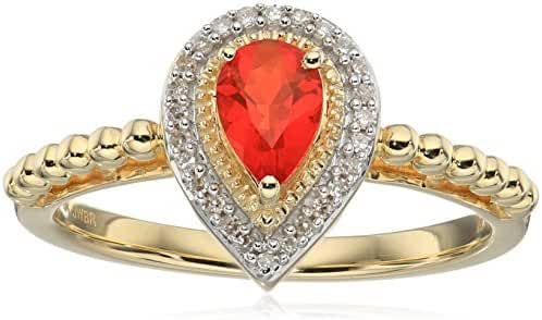 10k Yellow Gold Pear Mexican Fire Opal Fashion Ring