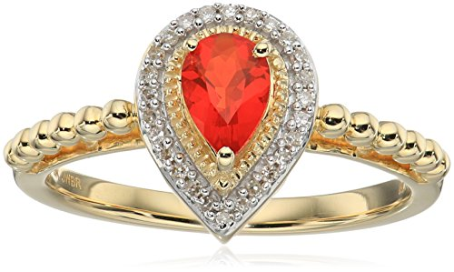 10K Yellow Gold Mexican Fire Opal Pear Shape Fashion Ring...
