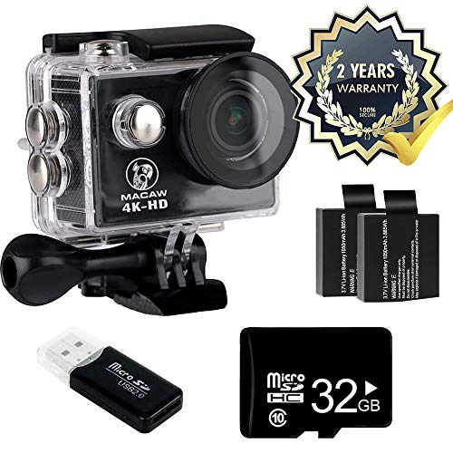 Macaw Action Camera - 32G microSD Card and 2 Batteries 4K WiFi Waterproof Wide Angle Lens