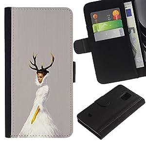 Protector de cuero de la PU de la cubierta del estilo de la carpeta del tirón BY RAYDREAMMM - Samsung Galaxy S5 Mini, SM-G800 - Cuernos de la bailarina