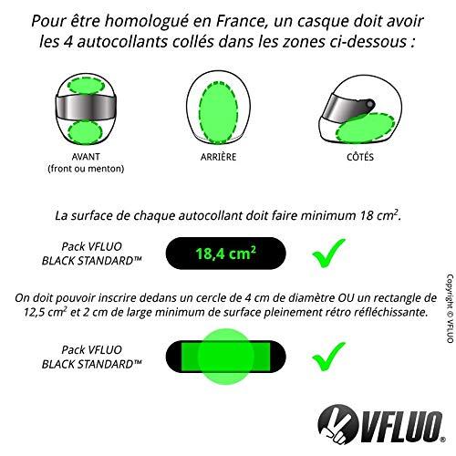 VFLUO BLACK OVAL/™ Kit 4 adesivi rifrangenti//riflettenti per casco moto 3M Technology/™ Visibilit/à di notte Nero