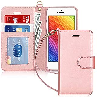 FYY Case for iPhone SE (1st gen-2016)/iPhone 5S/iPhone 5, [Kickstand Feature] Luxury PU Leather Wallet Case Flip Folio Cover with [Card Slots][Wrist Strap] for iPhone SE (1st gen-2016)/5S/5-Rose Gold