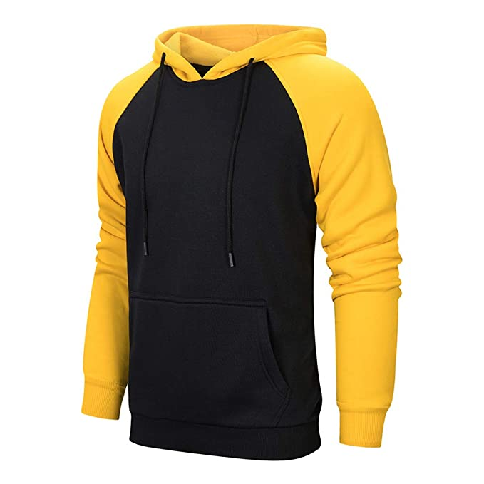17836c54904c2 TOLOER Mens Hoodies Pullover - Contrast Color Casual Hoodie for Men - Sports  Outwear Sweatshirts Black