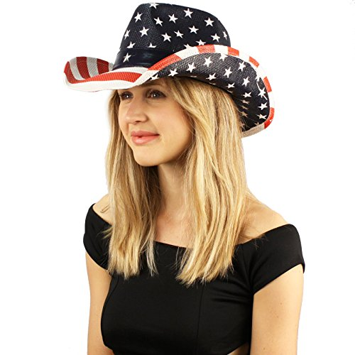 Unisex Painted USA Flag Star Studded Patriotic Cowboy Western Sun Hat M/L (Women's Western Outfits)