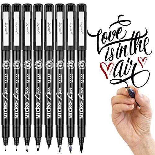 Hand Lettering Pens - Black Waterproof Ink(8 Size) DealKits Calligraphy Pen Brush Markers Set for Art Sketching, Beginners Writing Guide, Signature, Illustration, Technical Drawing ()