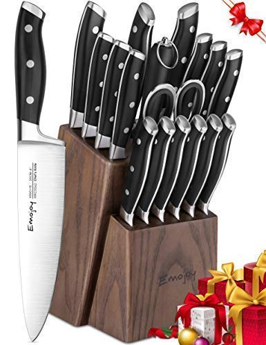Emojoy Knife Set, 18-Piece Kitchen Knife Set with Block Wooden, Manual Sharpening for Chef Knife Set, German Stainless Steel