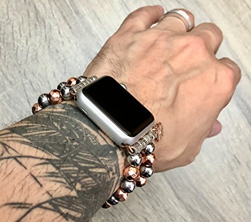 Two Toned Luxury Bracelet For Apple Watch Series 1 2 Amp 3 Handmade Rose Gold Amp Silver Hematite Beads Apple Watch Band Fashion Design Jewelry Bracelet Rose Gold Cz Northstar Charm Buy