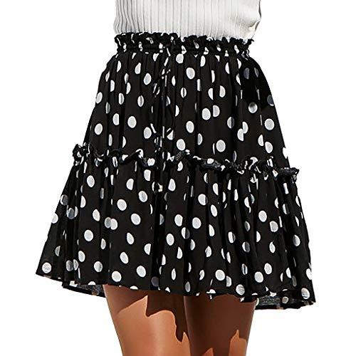 Fashion Womens Polka Dot Print Ruffles A-Line Pleated Lace Up Short Skirt Black