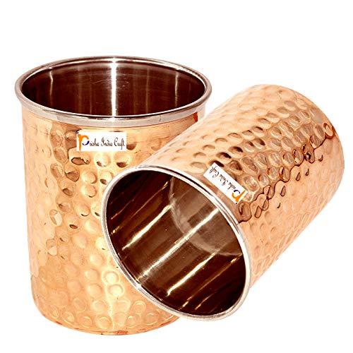 Prisha India Set of 2, Ayurveda Healing Drinkware Copper Tumbler Glasses