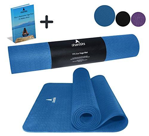"Shantihi Yoga Mat – Thick Eco Friendly Premium TPE Yoga Mat. Non Slip, Reversible, Durable Exercise Pilates Mat. Free Bonus eBook. 72""x24"", 5mm. (Dark Blue) Review"