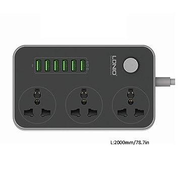 3 salidas 6 puertos USB Tira de alimentación USB Smart Home Socket Protección contra sobretensiones Carga