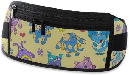 Funny Cartoon Dogs On Running Lumbar Pack For Travel Outdoor Sports Walking Travel Waist Pack,travel Pocket With Adjustable Belt