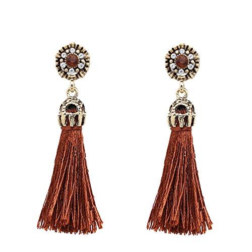 Women Vintage Earring Hollow Crystal Tassel Dangle Stud Earrings (Brown)