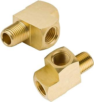 Pack of 2 Litorange 2 PCS Metals Brass Pipe Fitting Barstock Male Branch Tee T Adapter 1//4 NPT Female x 1//4 NPT Male x 1//4 NPT Female