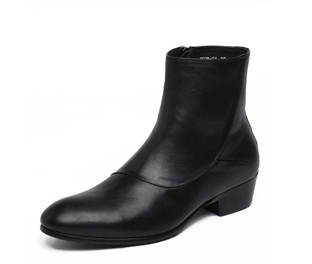 GLSHI Herren Arbeitsschuhe Einzel Stiefel Leder Bequeme Hochzeit Schuhe Atmosphäre Hohe Schuhe Business Casual Modelle