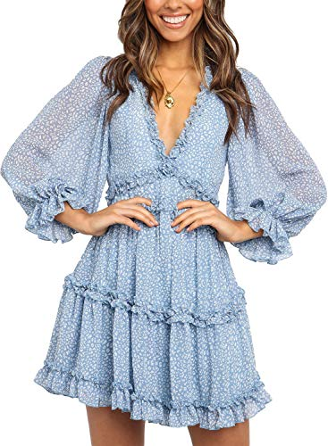 Dokotoo Womens Winter Casual Ladies Deep V Neckline Long Sleeve Leopard Print High Waist Mini Dress Fashion Skater A Line Ruffle Hem Flare Dresses Blue Medium