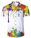 RAISEVERN Men's Tropical Hawaiian Shirt Melting Printed Casual Button Down Short Sleeve Shirt