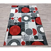 Lexington Home Modern Grey Red Circle Design Non-Slip Runner 2 x 7 Easy-Care Low Pile Top, Non-Skid Rubber Backing Rug