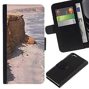 Costa Desert Ocean Sand Beach- la tarjeta de Crédito Slots PU Funda de cuero Monedero caso cubierta de piel Para Apple (4.7 inches!!!) iPhone 6 / 6S