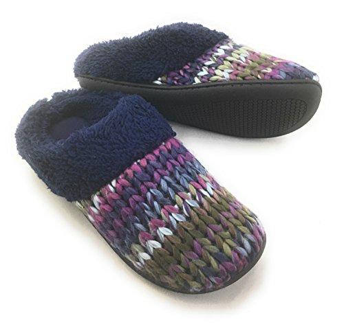 Dearfoam Womens Memory Foam Knit Slippers Purple/Navy/Grey Small 5-6 EfUGCU5gLy
