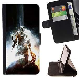 BullDog Case - FOR/Samsung Galaxy S4 Mini i9190 / - / DRAGONBORN - SKY RIM ELDER SCROLS /- Monedero de cuero de la PU Llevar cubierta de la caja con el ID Credit Card Slots Flip funda de cuer