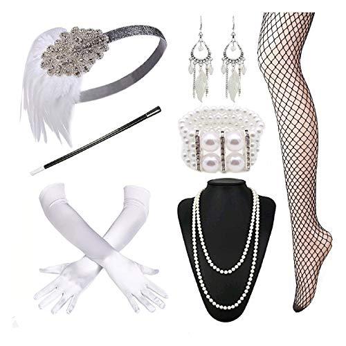 (1920s Headband Necklace Glove Cigarette Holder Flapper Accessories)