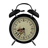Sduck 4'' Ultra Silent Quartz Analog Vintage Butterfly Twin Bell Loud Alarm Clock With Nightlight / illuminated silent sweep Hand Bedside Double Bell Alarm Clock, Black 1 year warranty