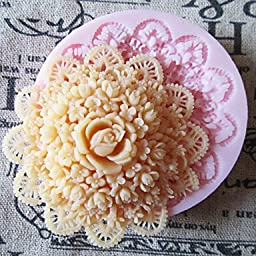 QINF 3D Round Flower Silicone Mold Fondant Molds Sugar Craft Tools Chocolate Mould For Cakes