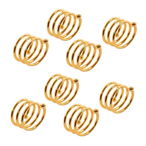 Vase Kim - Milky House Metal Spring Napkin Ring Metal Spiral Napkin Buckle for Party Dinner Wedding Set of 8 (Gold)