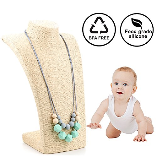 Lofca Silicone Teething Necklace for Mom to Wear-Great Baby Teething Toys-100% BPA Free Chew Beads-Stylish & Natural Breastfeeding Nursing Necklace for Soothing Pain Relief-'Claire'(Mint)