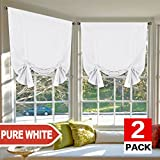 H.VERSAILTEX Pure White Curtains Thermal Insulated Tie Up Window Shade Light Reducing Curtains for Kitchen, Rod Pocket 2 Panels- 42' Wide by 63' Long