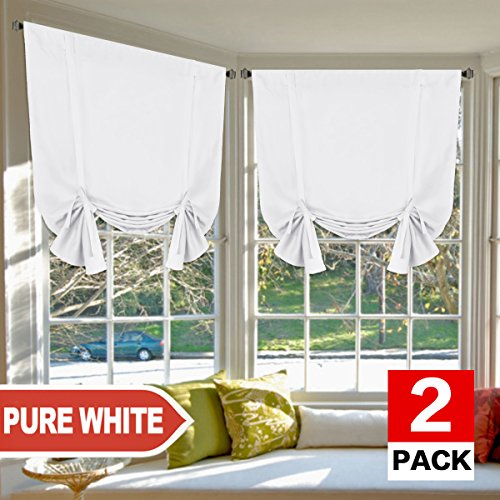H.VERSAILTEX Pure White Curtains Thermal Insulated Tie Up