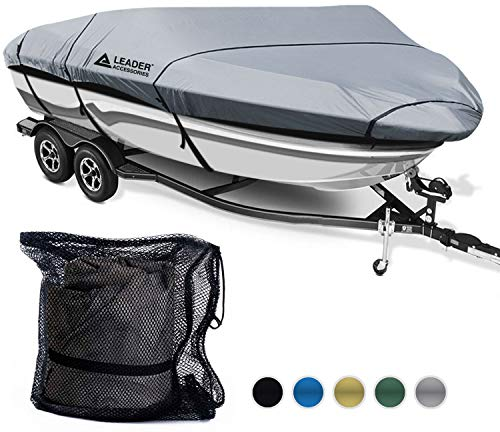(Leader Accessories 600D Polyester 5 Colors Waterproof Trailerable Runabout Boat Cover Fit V-Hull Tri-Hull Fishing Ski Pro-Style Bass Boats,Full Size (17'-19'L Beam Width up to 96'', Grey))