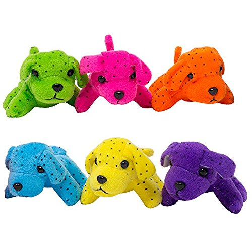 Spill Plush Toy Set (Plush Neon Dogs (1 Dozen): Bulk Set of Mini Puppy Stuffed Animals - Extra Soft Design In Assorted Colors - Specially Designed To Prevent Rips & Tears - M & M Products Online)