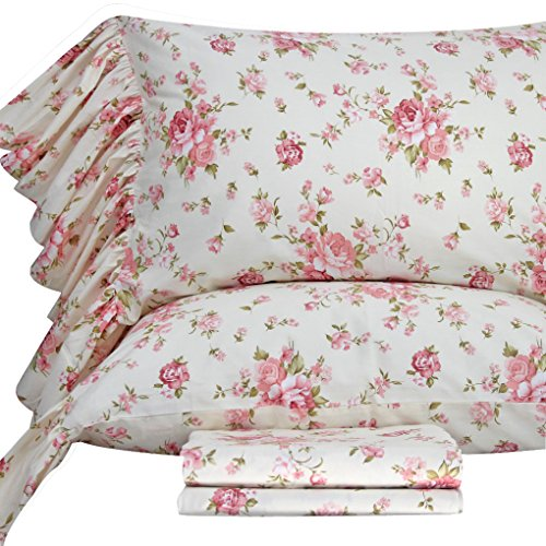 Queen's House Cotton Bed Sheets Rosesl Sheets Sets Queen Size-Style H - Shabby Chic Style Bedding